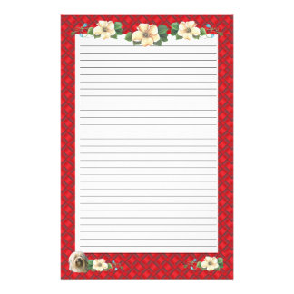 Lowchen with Red Ribbon Floral [Lined] Stationery