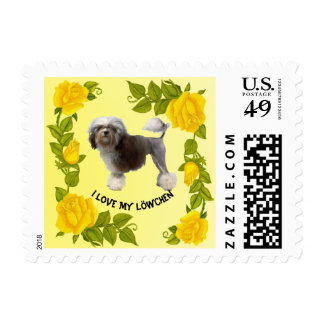 Lowchen with Yellow Roses Postage