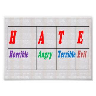 LowCost DECORATIONS on KODAK Paper : Text HATE Photo Print