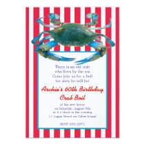 Lowcountry Blue Crab Boil Stripes- Red or Navy Invitation