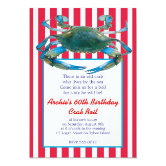 Lowcountry Blue Crab Boil Stripes- Red or Navy 5x7 Paper Invitation Card