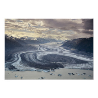 Lowell Glacier flows into the Alsek River in Photograph