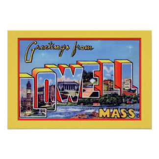 Lowell Massachusetts Large Letter Greeting Poster