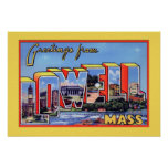 Lowell Massachusetts Large Letter Greeting Posters