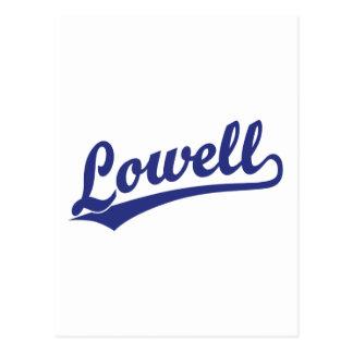 Lowell script logo in blue postcard