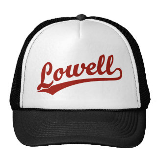 Lowell script logo in red trucker hat