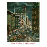Lower Broadway by Night Post Cards