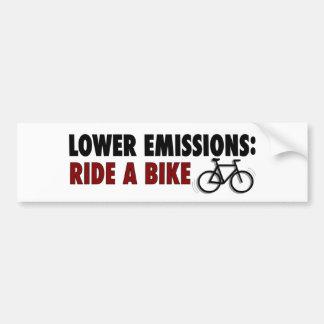 Lower Emissions Ride A Bike Car Bumper Sticker