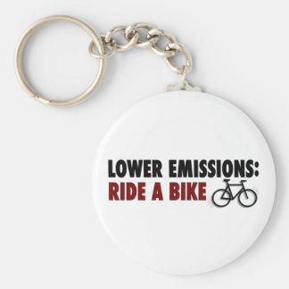 Lower Emissions Ride A Bike Basic Round Button Keychain