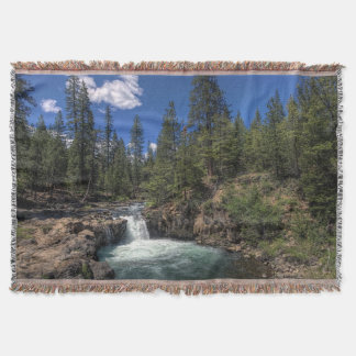 LOWER FALLS ON THE McCLOUD Throw Blanket