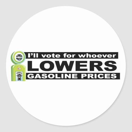 Lower Gas Prices  Classic Round Sticker