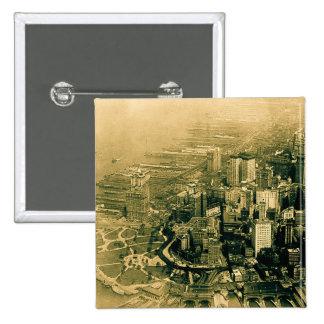 Lower Manhattan Aerial Photo Vintage Pins