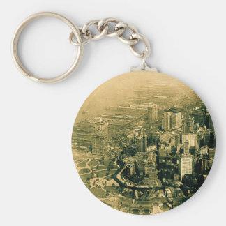 Lower Manhattan Aerial Photo Vintage Keychain