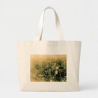 Lower Manhattan Aerial Photo Vintage Large Tote Bag
