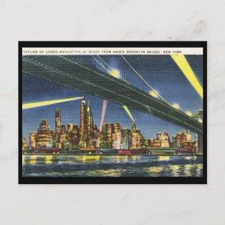 Lower Manhattan at Night Vintage postcard