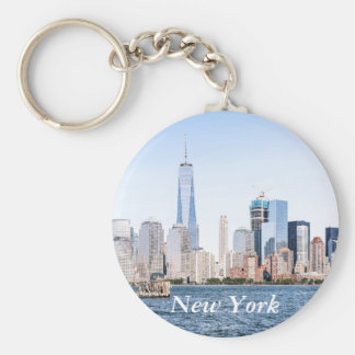 Lower Manhattan Color Sketch Skyline Keychain