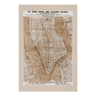Lower Manhattan New York City Map 1879 Posters