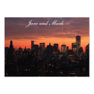 Lower Manhattan Skyline at Twilight, Pink Sky A1 3.5x5 Paper Invitation Card