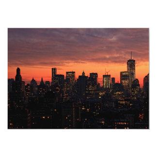 Lower Manhattan Skyline at Twilight, Pink Sky A1 Card