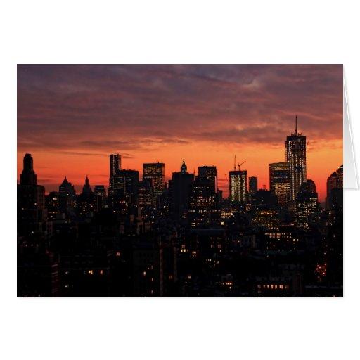 Lower Manhattan Skyline at Twilight, Pink Sky A1 Greeting Card