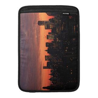 Lower Manhattan Skyline at Twilight Pink Sky A1 MacBook Sleeves