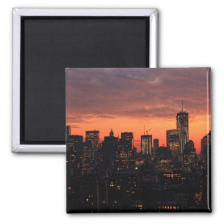 Lower Manhattan Skyline at Twilight, Pink Sky A1 Fridge Magnet