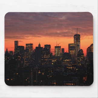 Lower Manhattan Skyline at Twilight Pink Sky A1 Mouse Pad