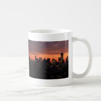 Lower Manhattan Skyline at Twilight, Pink Sky A1 Mug