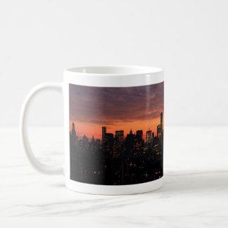 Lower Manhattan Skyline at Twilight, Pink Sky A1 Coffee Mug