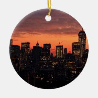 Lower Manhattan Skyline at Twilight, Pink Sky A1 Christmas Tree Ornaments