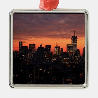 Lower Manhattan Skyline at Twilight, Pink Sky A1 Christmas Ornaments