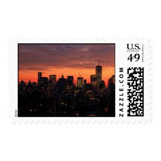Lower Manhattan Skyline at Twilight, Pink Sky A1 Postage