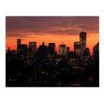Lower Manhattan Skyline at Twilight, Pink Sky A1 Postcard