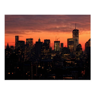 Lower Manhattan Skyline at Twilight, Pink Sky A1 Postcard