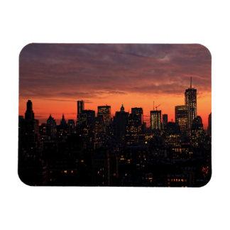 Lower Manhattan Skyline at Twilight, Pink Sky A1 Rectangle Magnet