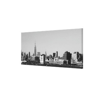 Lower Manhattan Skyline Black White Canvas Print