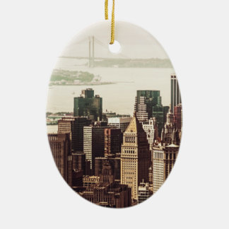 Lower Manhattan Skyline - View from Midtown Ceramic Ornament