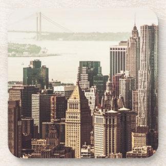 Lower Manhattan Skyline - View from Midtown Beverage Coasters