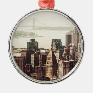 Lower Manhattan Skyline - View from Midtown Metal Ornament