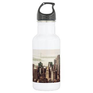 Lower Manhattan Skyline - View from Midtown Stainless Steel Water Bottle