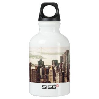 Lower Manhattan Skyline - View from Midtown Water Bottle