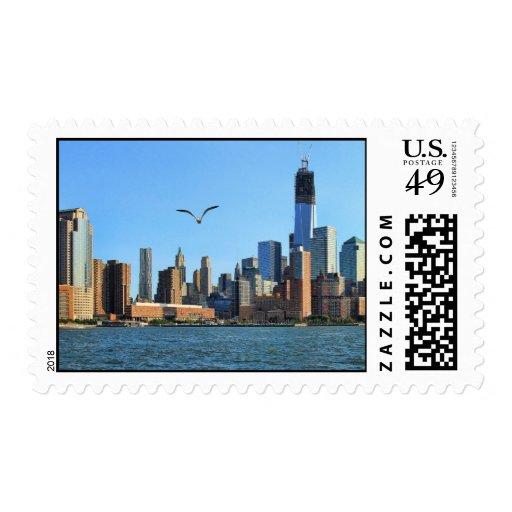 Lower Manhattan Skyline: WTC, Woolworth Postage Stamp