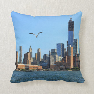 Lower Manhattan Skyline: WTC, Woolworth Throw Pillow