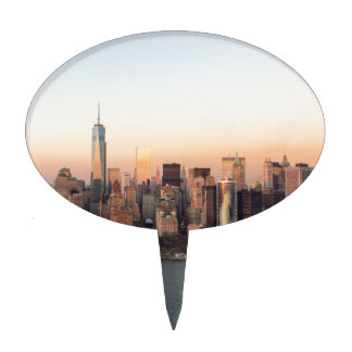Lower Manhattan Sunset WTC Freedom Tower NYC Cake Topper