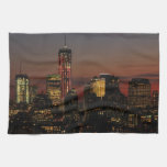Lower NYC skyline: World Trade Center in Red Kitchen Towels