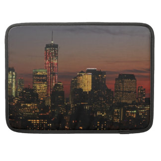 Lower NYC skyline World Trade Center in Red Sleeves For MacBooks