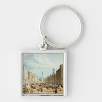 Lower Regent Street, pub. by Ackermann, c.1835 (co Silver-Colored Square Keychain
