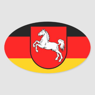 Lower Saxony flag with coats of arms Oval Sticker