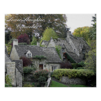 Lower Slaughter cottages, Cotswolds Poster