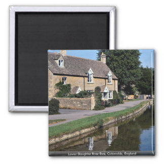 Lower Slaughter River Ewe, Cotswolds, England 2 Inch Square Magnet